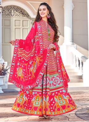 Engrossing Multi Colour Embroidered Silk Trendy Gown