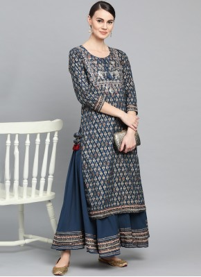 Engrossing Navy Blue Cotton Party Wear Kurti
