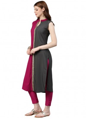 Engrossing Plain Grey and Hot Pink Casual Kurti