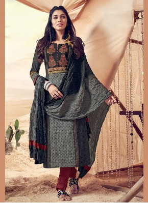 Engrossing Polly Cotton Embroidered Grey Salwar Suit
