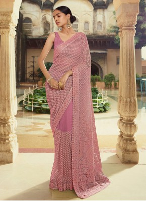 Engrossing Thread Purple Georgette Trendy Saree