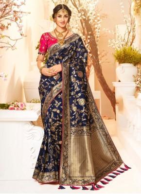 Engrossing Weaving Blue Silk Saree