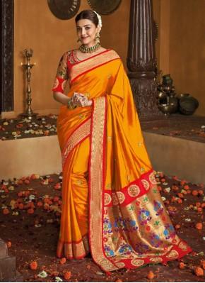 Engrossing Weaving Silk Mustard Traditional Saree