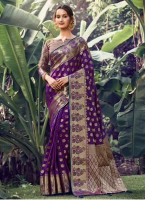 Engrossing Weaving Silk Purple Traditional Saree