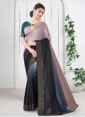 Enthralling Black Swarovski Silk Shaded Saree