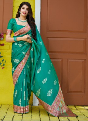 Enthralling Green Reception Traditional Saree
