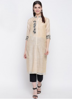 Enticing Cream Print Chanderi Party Wear Kurti