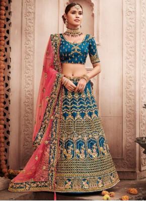 Enticing Embroidered Turquoise Silk Lehenga Choli