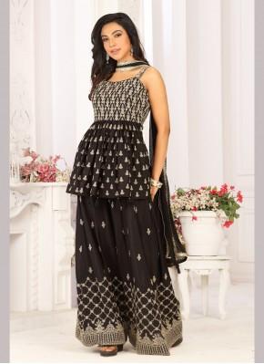 Enticing Georgette Satin Zari Work Designer Ready made Palazzo Dress
