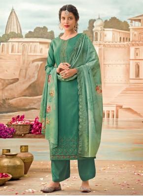 Enticing Green Embroidered Designer Pakistani Salwar Suit