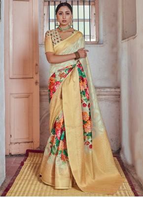 Enticing Print Silk Traditional Designer Saree