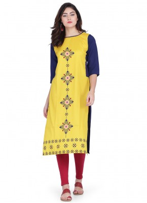 Enticing Print Yellow Faux Crepe Party Wear Kurti