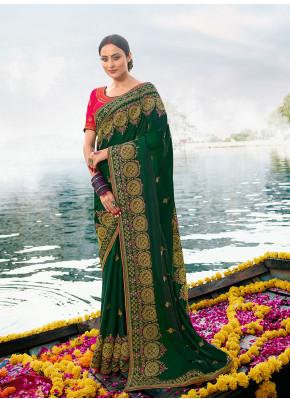 Enticing Resham Green Silk Classic Saree