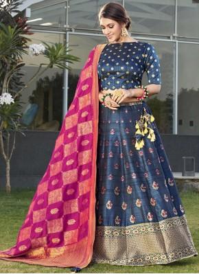 Enticing Silk Weaving Blue Designer Lehenga Choli