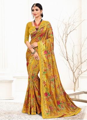 Enticing Yellow Trendy Saree