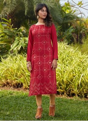 Entrancing Fancy Red Cotton Party Wear Kurti