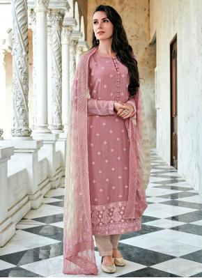 Entrancing Rose Pink Straight Salwar Suit