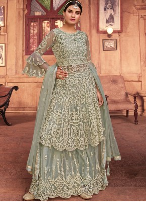 Epitome Net Grey Designer Pakistani Suit
