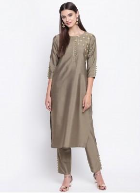 Epitome Plain Grey Cotton Silk Party Wear Kurti