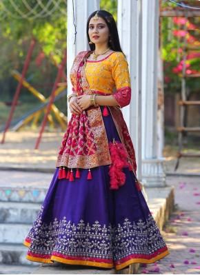 Epitome Purple and Yellow Bollywood Style Lehenga Choli