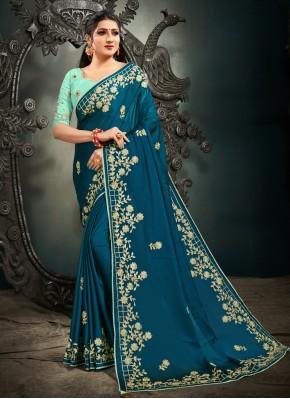 Epitome Satin Embroidered Blue Designer Saree