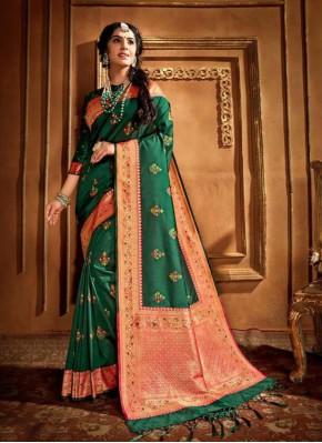 Epitome Weaving Green Silk Saree