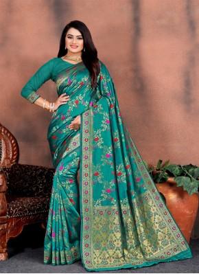 Epitome Weaving Silk Blue Classic Saree
