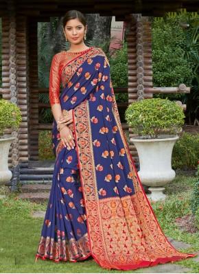 Especial Blue Woven Traditional Designer Saree