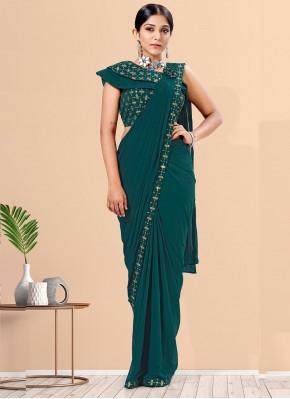 Especial Green Lycra Designer Saree