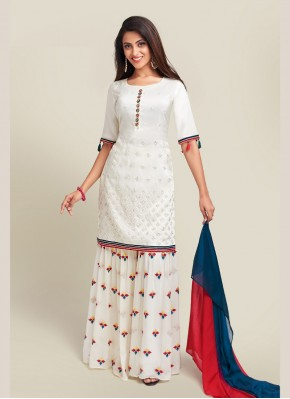 Especial Off White Embroidered Palazzo Suit
