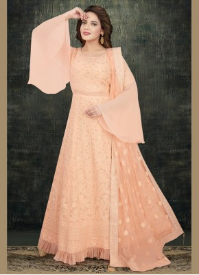 Especial Peach Embroidered Georgette Readymade Anarkali Salwar Suit