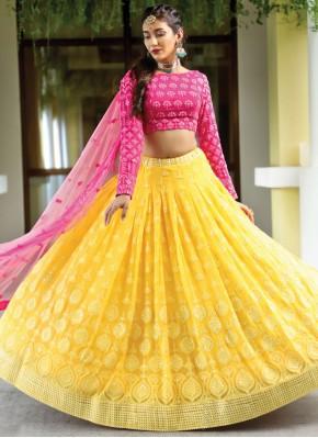 Especial Pink and Yellow Wedding Readymade Lehenga Choli