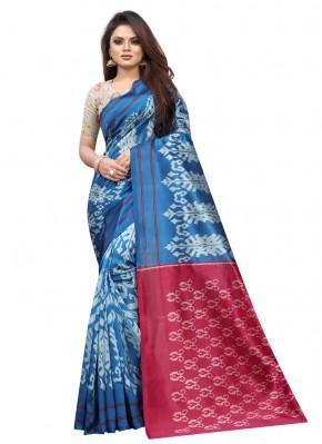 Especial Raw Silk Blue Abstract Print Traditional Saree