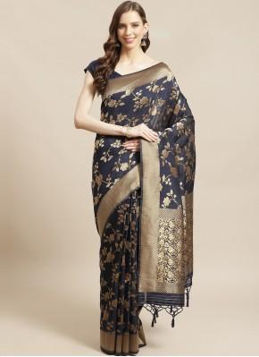 Especial Weaving Silk Navy Blue Designer Saree