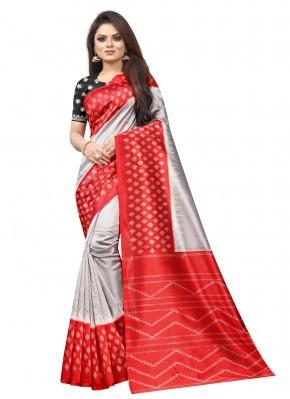 Ethnic Abstract Print Raw Silk Traditional Saree