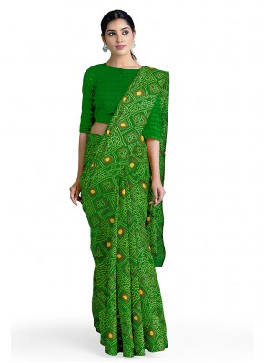 Ethnic Faux Georgette Abstract Print Casual Saree