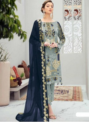 Ethnic Grey Stone Work Designer Pakistani Salwar Suit