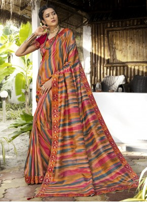 Ethnic Multi Colour Digital Print Silk Trendy Saree