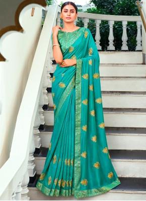 Ethnic Sea Green Thread Vichitra Silk Traditional Saree