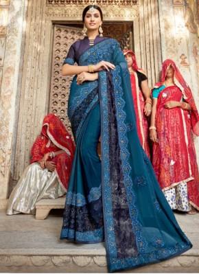 Ethnic Silk Teal Traditional Saree