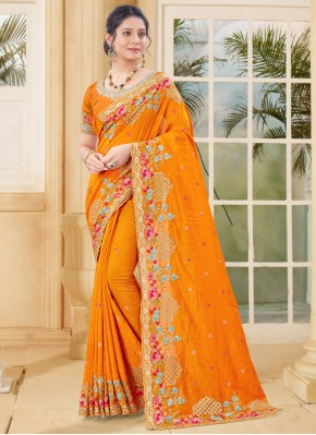 Ethnic Vichitra Silk Embroidered Mustard Traditional Designer Saree