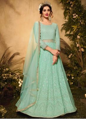 Exceeding Faux Georgette Sea Green Floor Length Designer Suit