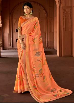 Exceeding Peach Floral Print Printed Saree