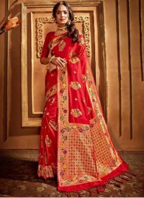 Exceeding Red Silk Designer Saree