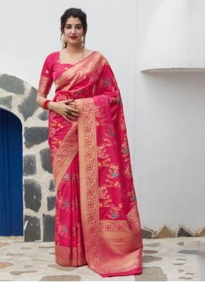 Exceeding Weaving Pink Silk Classic Saree