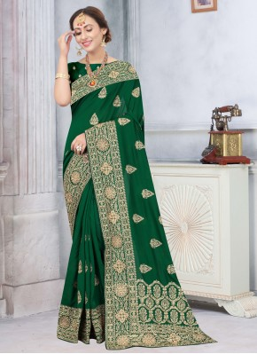 Excellent Embroidered Green Silk Traditional Designer Saree