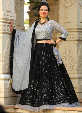 Excellent Georgette Black and Grey Mirror Work Readymade Lehenga Choli
