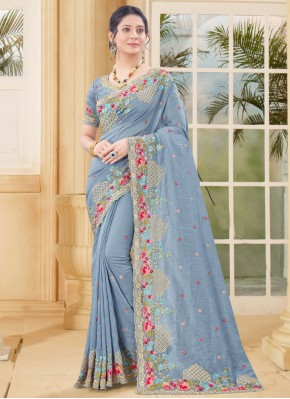 Excellent Grey Resham Traditional Designer Saree
