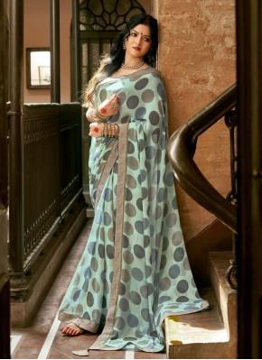 Excellent Multi Colour Faux Georgette Printed Saree