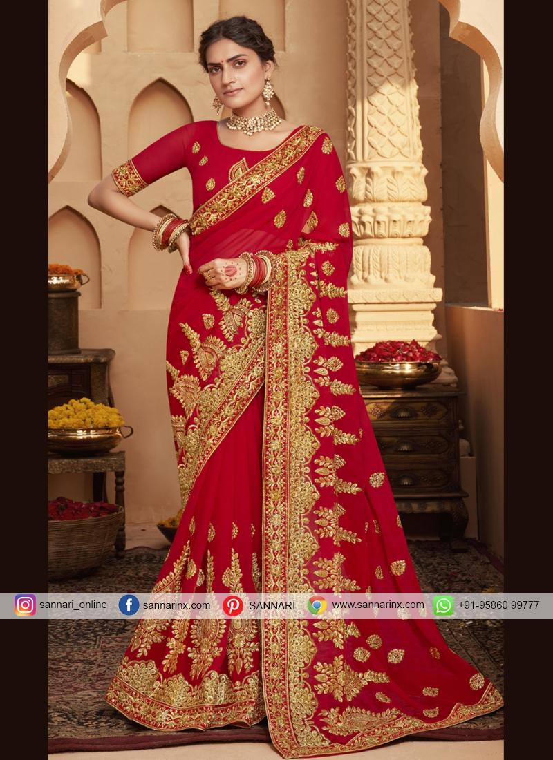 Excellent Red Embroidered Classic Designer Saree